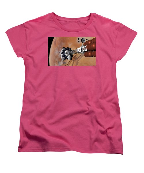 Ares1 Captured Over Valles Marineris Women's T-Shirt (Standard Cut) by David Robinson