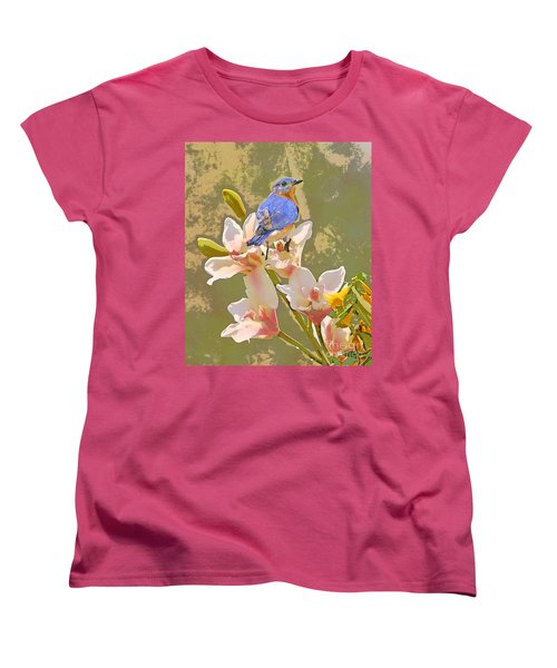 Women's T-Shirt (Standard Cut) featuring the photograph Bluebird On Orchids Artistic Photo by Luana K Perez