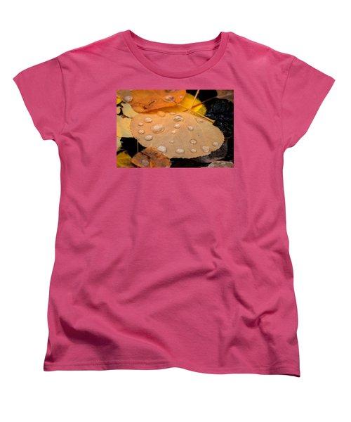 Aspen Leaf With Water Drops Women's T-Shirt (Standard Cut) by John McArthur