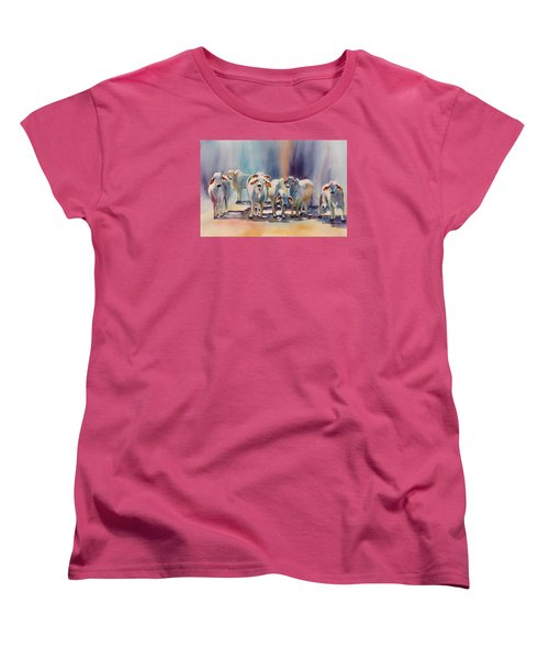 Women's T-Shirt (Standard Cut) featuring the painting Attention All Ears.  Brahman Bulls by Roxanne Tobaison
