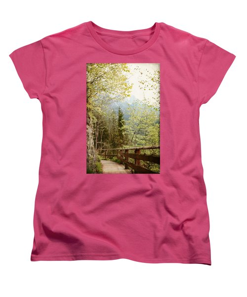 Austrian Woodland Trail And Mountain View Women's T-Shirt (Standard Cut) by Brooke T Ryan