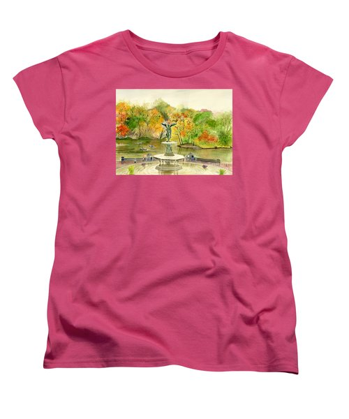 Autumn At Central Park Ny Women's T-Shirt (Standard Cut) by Melly Terpening