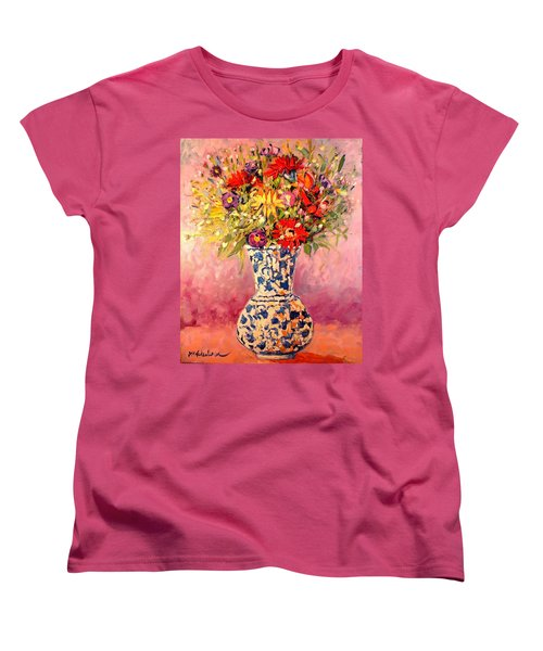 Women's T-Shirt (Standard Cut) featuring the painting Autumn Flowers by Ana Maria Edulescu