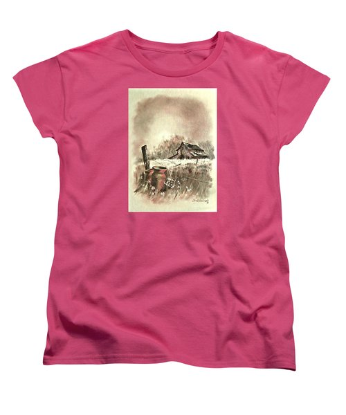 Women's T-Shirt (Standard Cut) featuring the painting Autumn In View At Mac Gregors Barn by Carol Wisniewski