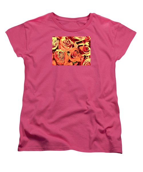Women's T-Shirt (Standard Cut) featuring the photograph Autumn Roses On Your Wall by Joseph Baril