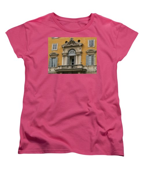 Women's T-Shirt (Standard Cut) featuring the photograph Awaiting The Pope by Robin Maria Pedrero