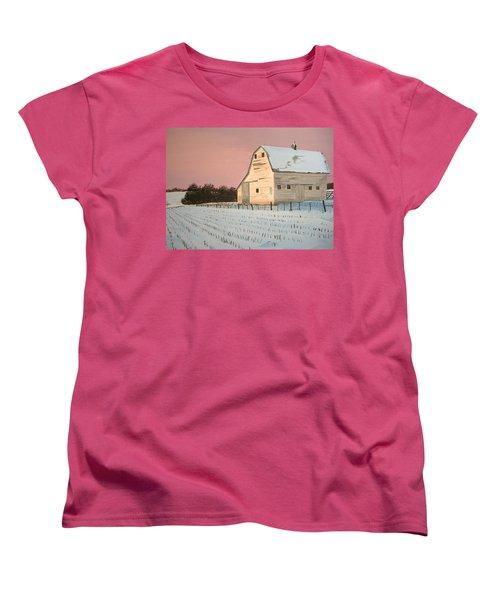 Women's T-Shirt (Standard Cut) featuring the painting Award-winning Original Acrylic Painting - Nebraska Barn by Norm Starks