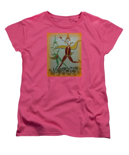 Women's T-Shirt (Standard Cut) featuring the painting Babe Let's Tango by Marie Schwarzer