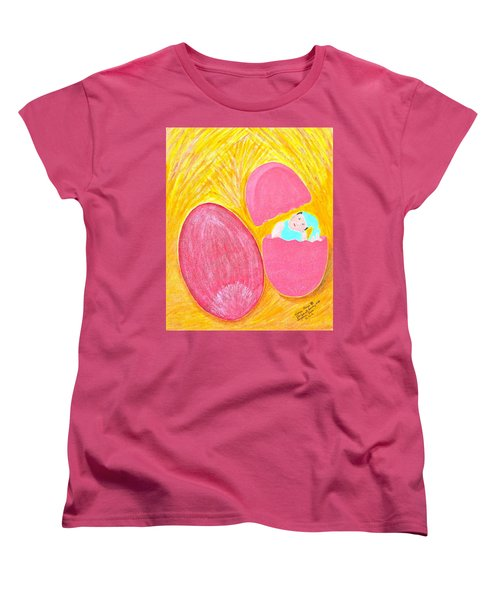Women's T-Shirt (Standard Cut) featuring the painting Baby Egg by Lorna Maza