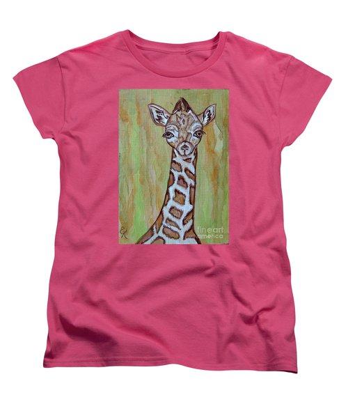 Women's T-Shirt (Standard Cut) featuring the painting Baby Longneck Giraffe by Ella Kaye Dickey