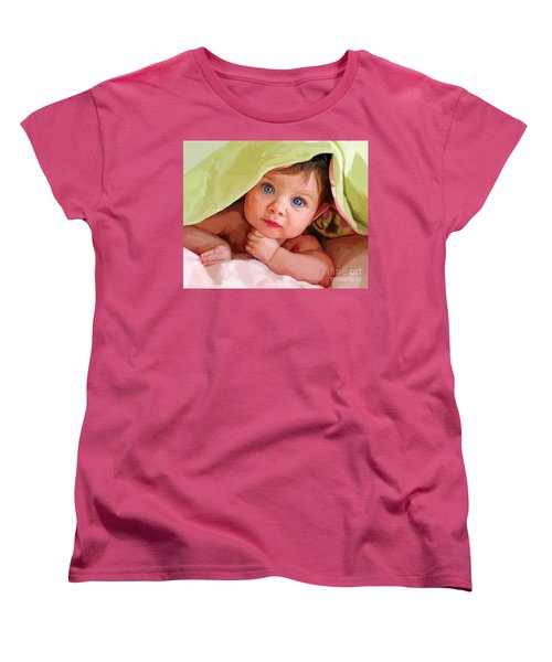 Women's T-Shirt (Standard Cut) featuring the painting Baby Under Blanket by Tim Gilliland