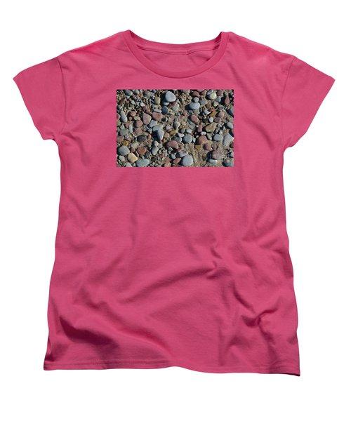 Women's T-Shirt (Standard Cut) featuring the photograph Background Of Wet Pebbles And Sand by Kennerth and Birgitta Kullman