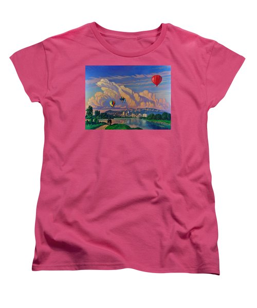 Women's T-Shirt (Standard Cut) featuring the painting Ballooning On The Rio Grande by Art James West