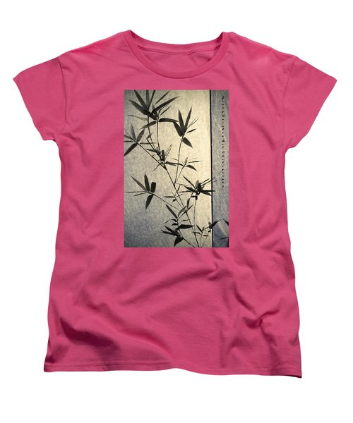 Bamboo Leaves Women's T-Shirt (Standard Cut) by Jenny Rainbow