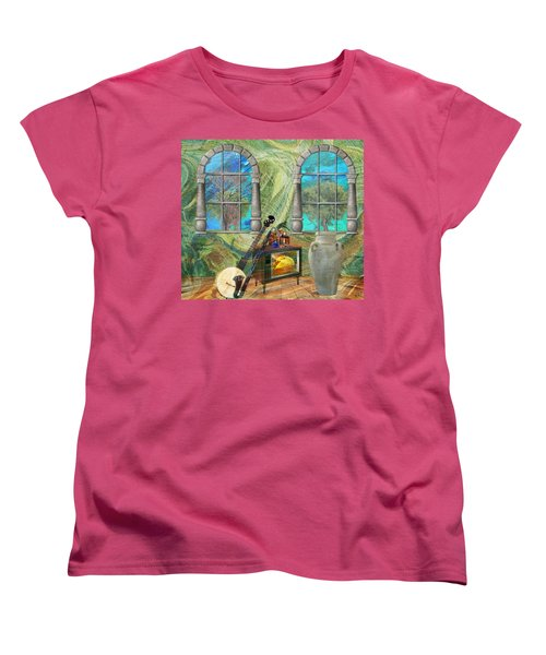 Women's T-Shirt (Standard Cut) featuring the mixed media Banjo Room by Ally  White