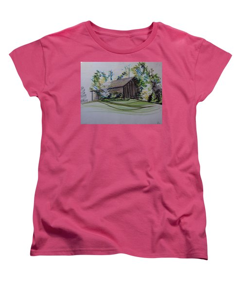 Old Barn At Wason Pond Women's T-Shirt (Standard Cut) by Sean Connolly