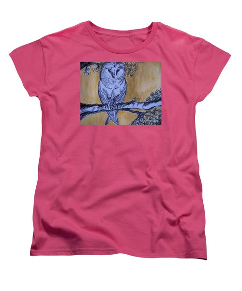 Women's T-Shirt (Standard Cut) featuring the painting Barn Owl by Teresa White