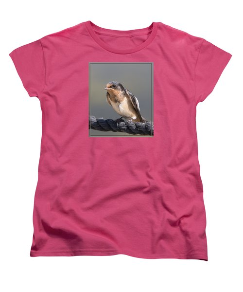 Women's T-Shirt (Standard Cut) featuring the photograph Barn Swallow On Rope I by Patti Deters