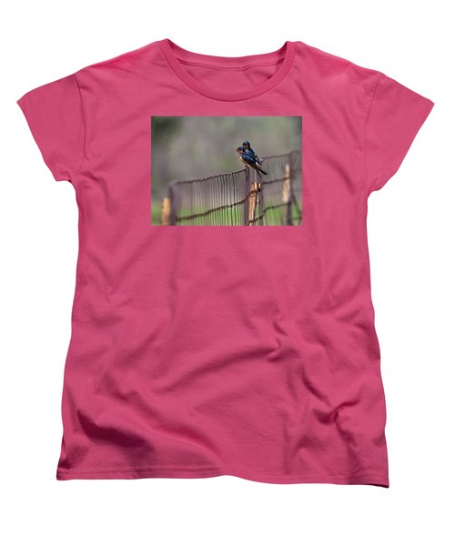 Barn Swallows On The Fence Women's T-Shirt (Standard Cut) by Mark Alder