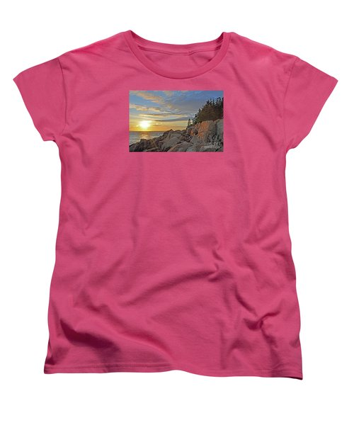 Women's T-Shirt (Standard Cut) featuring the photograph Bass Harbor Lighthouse Sunset Landscape by Glenn Gordon