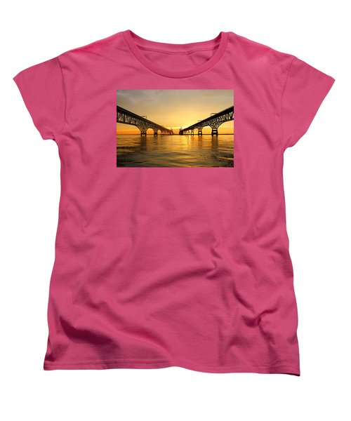 Women's T-Shirt (Standard Cut) featuring the photograph Bay Bridge Sunset by Jennifer Casey