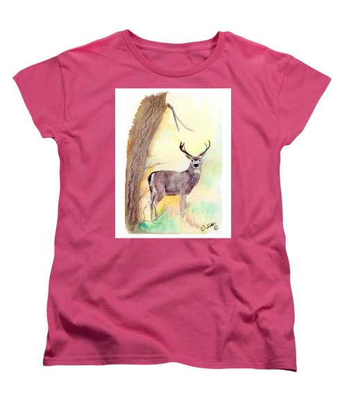 Women's T-Shirt (Standard Cut) featuring the painting Be A Dear by C Sitton
