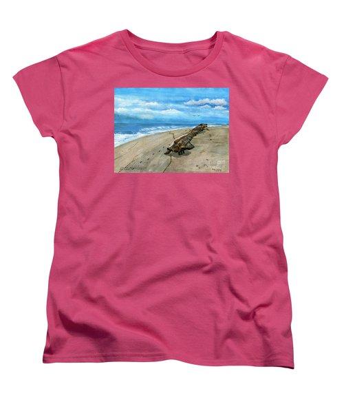 Women's T-Shirt (Standard Cut) featuring the painting Beach Drift Wood by Melly Terpening