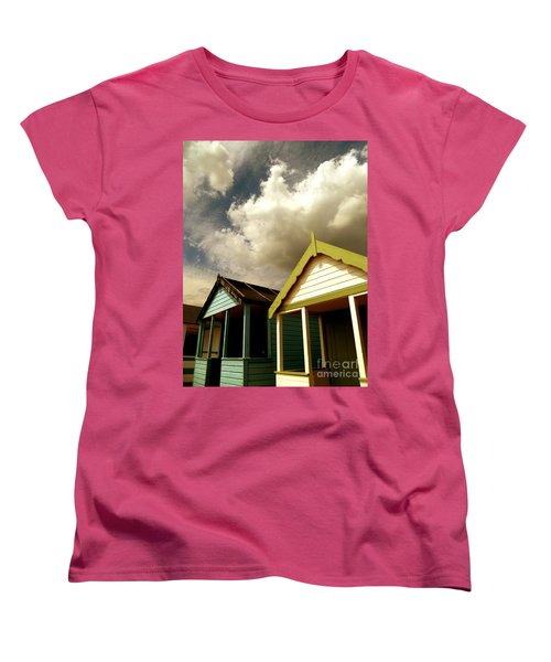 Beach Huts Women's T-Shirt (Standard Cut) by Vicki Spindler