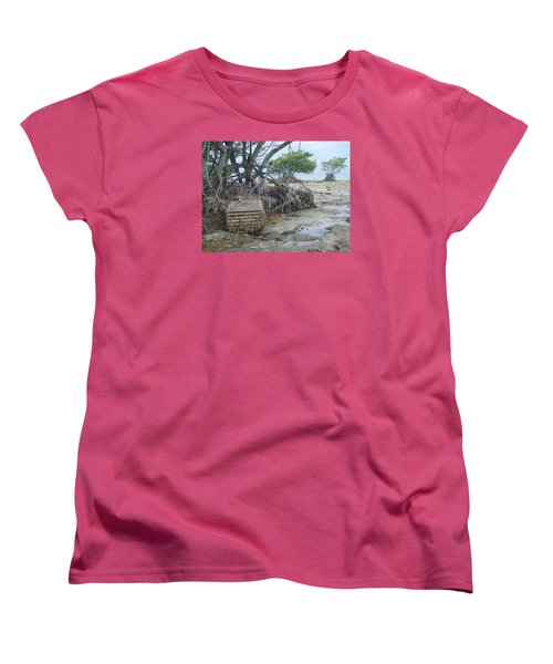 Women's T-Shirt (Standard Cut) featuring the photograph Beached Lobster Trap by Robert Nickologianis