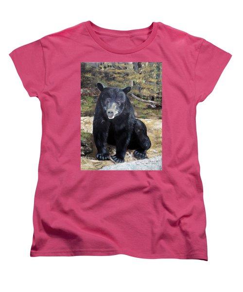 Women's T-Shirt (Standard Cut) featuring the painting Bear - Wildlife Art - Ursus Americanus by Jan Dappen