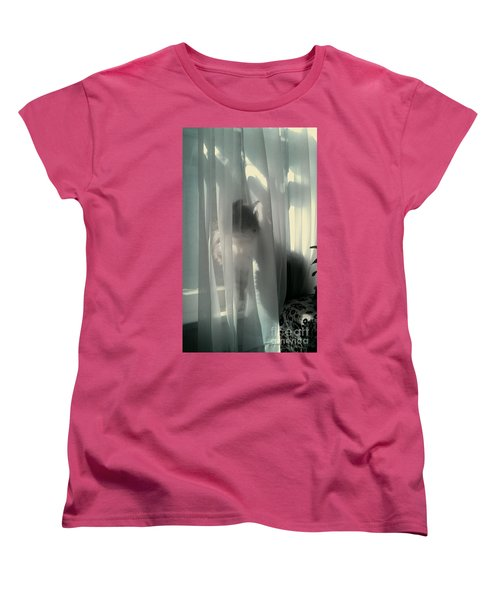 Women's T-Shirt (Standard Cut) featuring the photograph Behind The Curtain by Jacqueline McReynolds