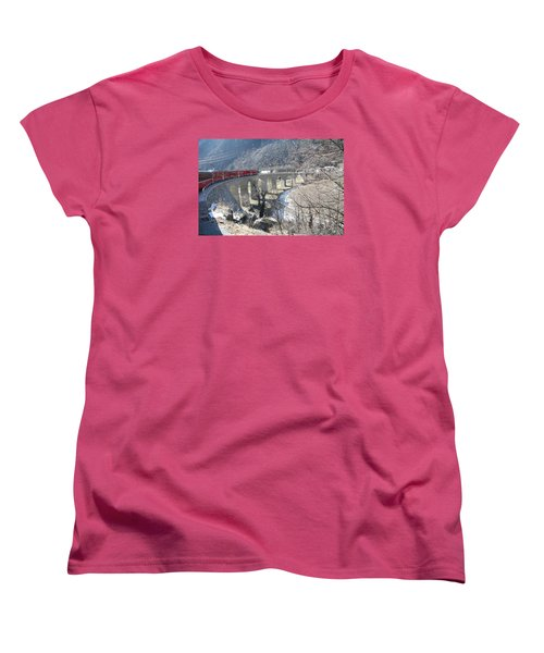 Women's T-Shirt (Standard Cut) featuring the photograph Bernina Express In Winter by Travel Pics