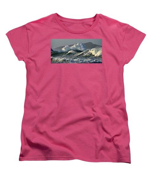 Big Waves At Clogher Beach Women's T-Shirt (Standard Cut) by Barbara Walsh
