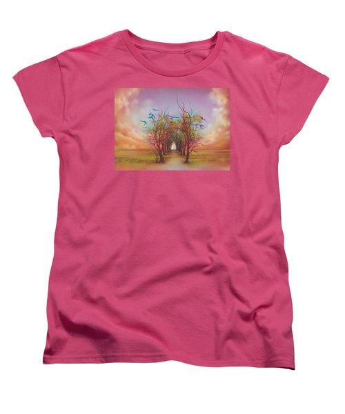 Birds Of Rainbow Mist Women's T-Shirt (Standard Cut) by Anna Ewa Miarczynska