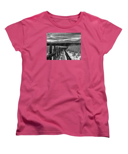 Women's T-Shirt (Standard Cut) featuring the photograph black and White Danger 2 bordway cover with slippery ice by Leif Sohlman