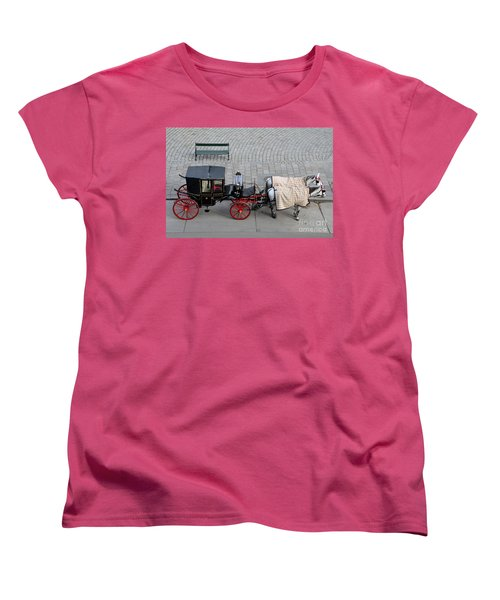 Women's T-Shirt (Standard Cut) featuring the photograph Black And Red Horse Carriage - Vienna Austria  by Imran Ahmed