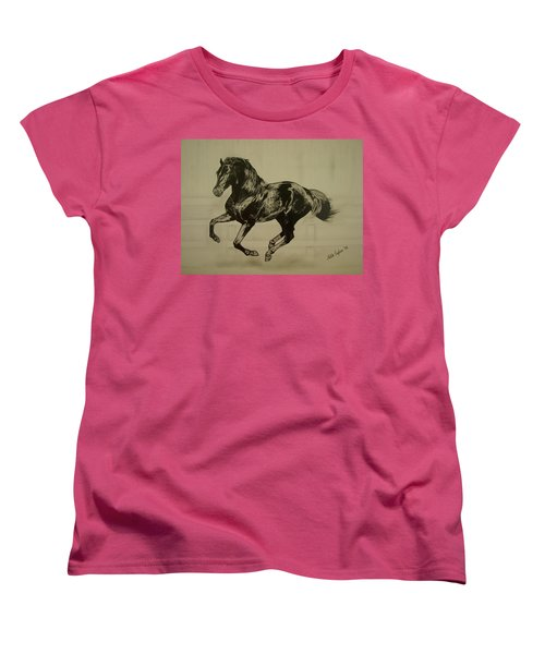 Black Stallion Women's T-Shirt (Standard Cut) by Melita Safran