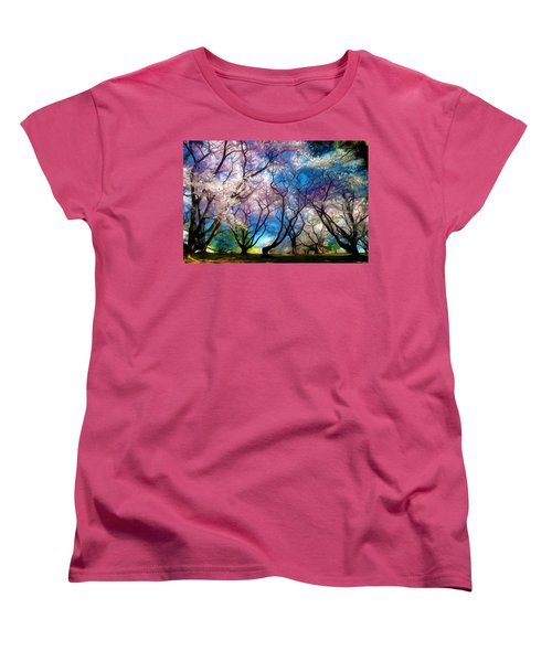 Blossom Cherry Trees Over Spring Sky Women's T-Shirt (Standard Cut) by Lanjee Chee