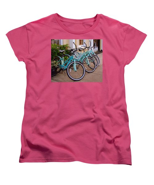 Women's T-Shirt (Standard Cut) featuring the photograph Blue Bikes by Rodney Lee Williams
