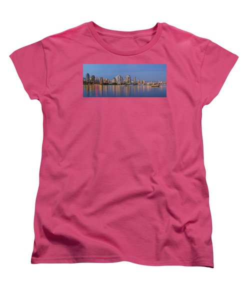 Women's T-Shirt (Standard Cut) featuring the photograph Blue Hour At False Creek Vancouver Bc Canada by JPLDesigns