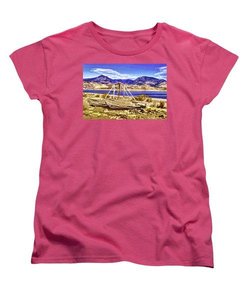 Women's T-Shirt (Standard Cut) featuring the painting Blue by Muhie Kanawati