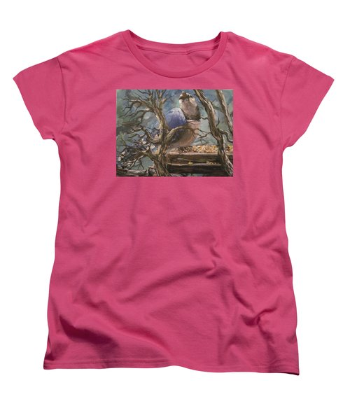 Women's T-Shirt (Standard Cut) featuring the painting Bluejay by Megan Walsh