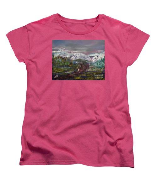 Women's T-Shirt (Standard Cut) featuring the painting Blurred Mountain by Jan Dappen