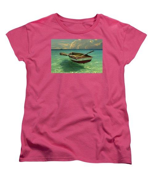 Boat In Clear Water Women's T-Shirt (Standard Cut) by David  Van Hulst