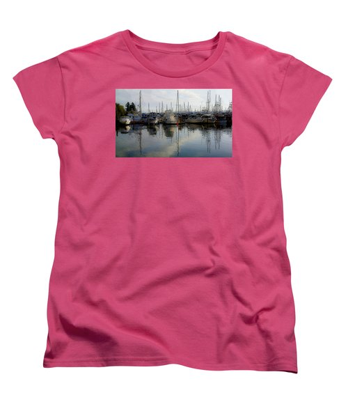 Women's T-Shirt (Standard Cut) featuring the photograph Boats At Marina On Liberty Bay by Greg Reed