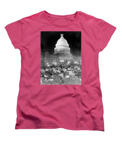 Bonus Army Sleeps At Capitol Women's T-Shirt (Standard Cut) by Underwood Archives