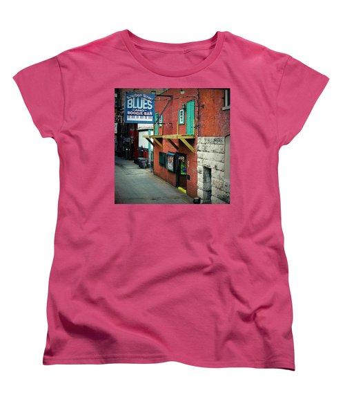 Bourbon Street Blues Women's T-Shirt (Standard Cut) by Linda Unger