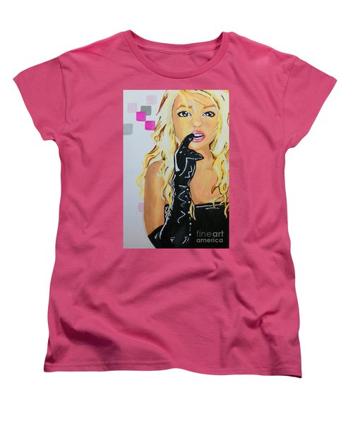 Women's T-Shirt (Standard Cut) featuring the painting Britney by Marisela Mungia