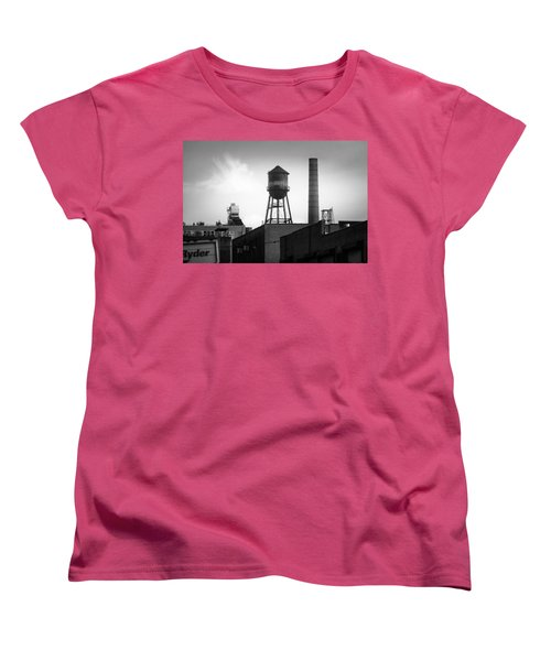 Women's T-Shirt (Standard Cut) featuring the photograph Brooklyn Water Tower And Smokestack - Black And White Industrial Chic by Gary Heller