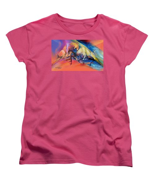 Women's T-Shirt (Standard Cut) featuring the painting Buck Off by Rob Corsetti